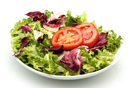 a plate of radicchio salad with tomato