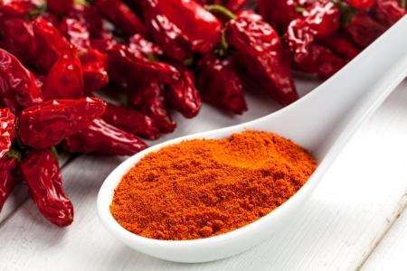 paprika powder on a spoon Фото со стока