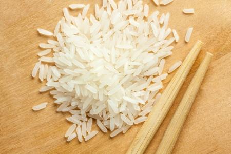 some row thai rice on wood Фото со стока