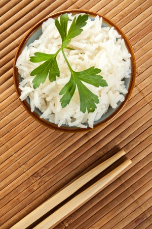 some white chinese rice on a bowl