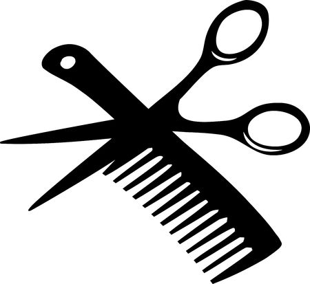 peigne: Coiffeur peigne et ciseaux Banque d'images