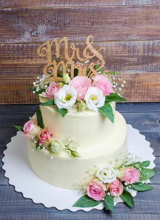 Three Layered Wedding Cream Cheese Cake With Roses And Olive - Layered Wedding Cake