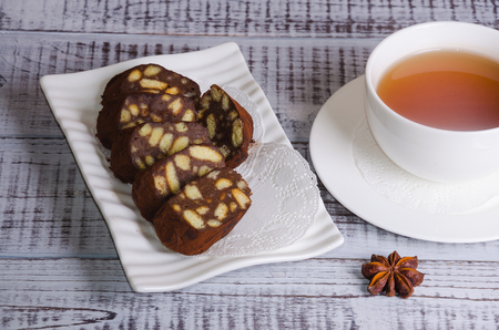 earl: chocolate salami with earl grey tea)