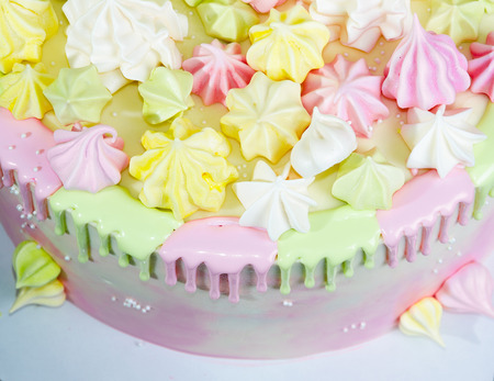 cream cheese cake with chocolate twist and bright merengue decoration Stock Photo - 87427213