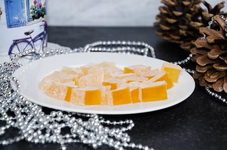 new year orange flavor marmelade on wooden background