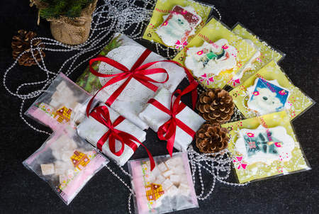Christmas hand made present boxes decorated with lace and ribbons