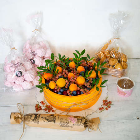 birthday anniversary velvet cake with fruits and berries