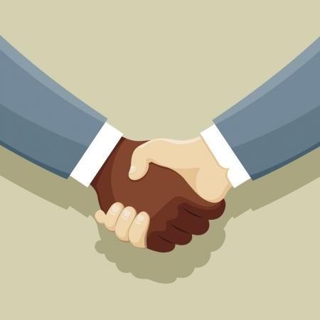 trade union: Vector illustration of Handshake of two man