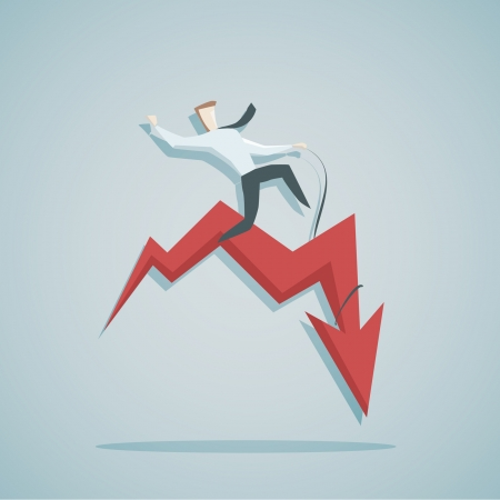 Vector illustration of Businessman and diagramm - instability concept