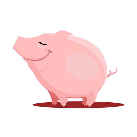 Vector Illustration of cute little pig isolated Ilustração