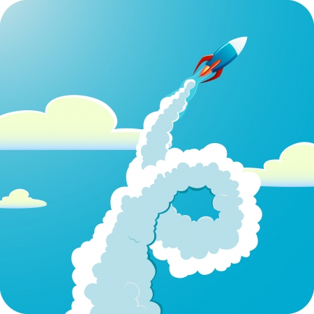 blast off: Square vector illustration of Flying rocket in sky