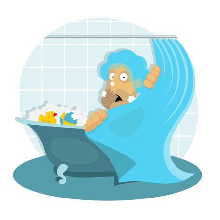 awkward: Ilustraci�n vectorial del hombre en el ba�o se encuentra en situaci�n inc�moda