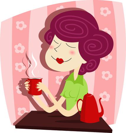 Vector illustration of  Woman drinks coffee