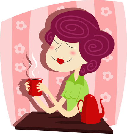 woman face close up: Vector illustration of  Woman drinks coffee