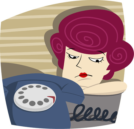 despondency: Vector illustration of  Woman is waiting for a call Illustration