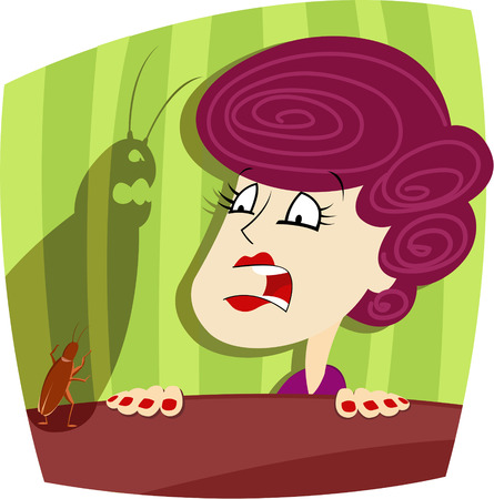 squeal: Vector illustration of Woman and cockroach