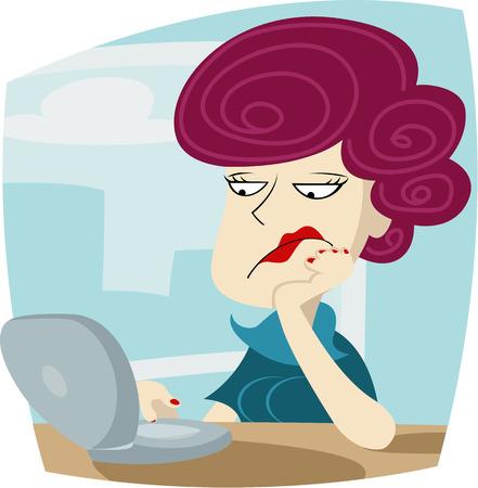 sentarse: Ilustración vectorial de la mujer aburrido está sentado en la oficina y el trabajo en equipo