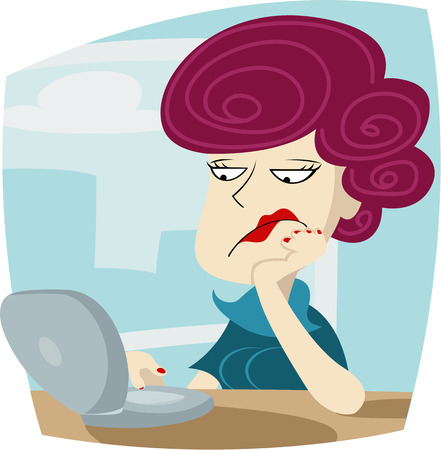 'one woman only': Vector illustration of Bored woman is sitting at office and working on computer Illustration