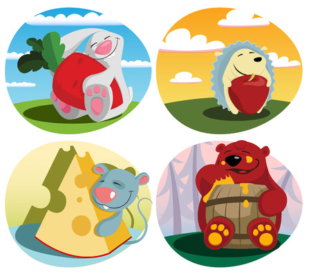 Vector illustration of  Animals with food Vector
