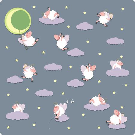 herding: Vector illustration of Funny sheeps