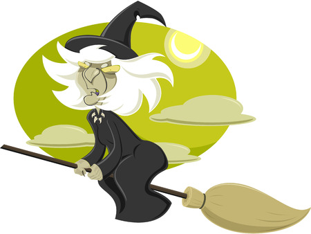 angry sky: Vector illustration of Witch flying on broom
