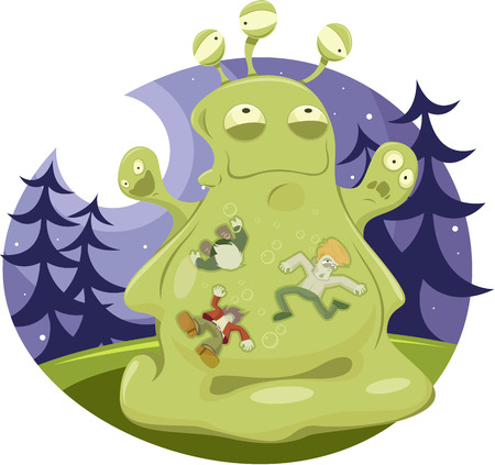 single color image: Vector illustration of Jelly Monster