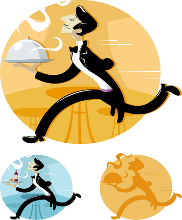 butler: Vector illustration of Waiter is running with delicious dish