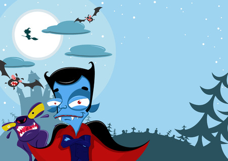 vlad: Vector illustration of Halloween background with, bat and other monsters