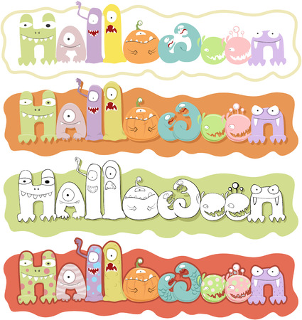 Vector illustration of  Halloween lettering with different cute monsters