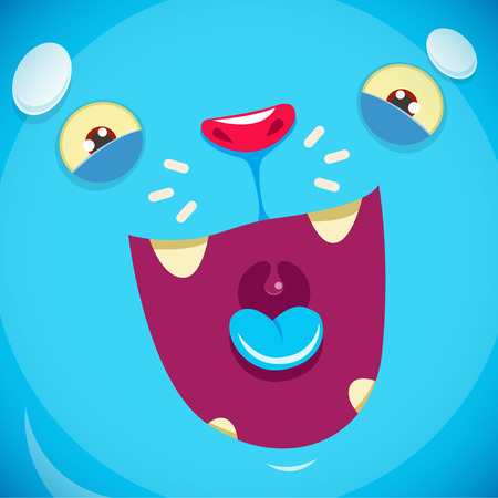 mouth open: A muzzle of a cute blue monster. file Illustration