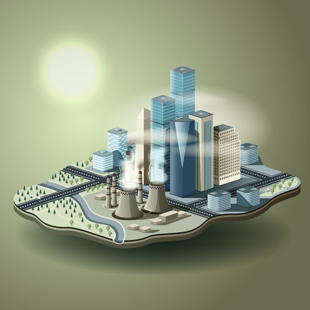 global warming: Air pollution in big city. Vector isometric illustration of environmental pollution concept.