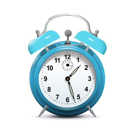 Alarm clock blue isolated on white - vector.