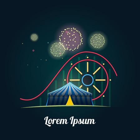 amusement: Amusement park with fireworks.