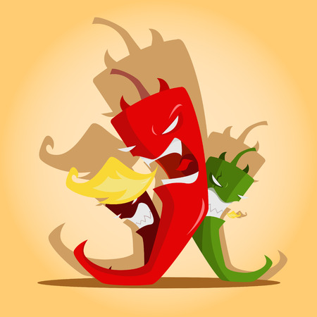 Vector illustration of  Angry red and green chili peppers