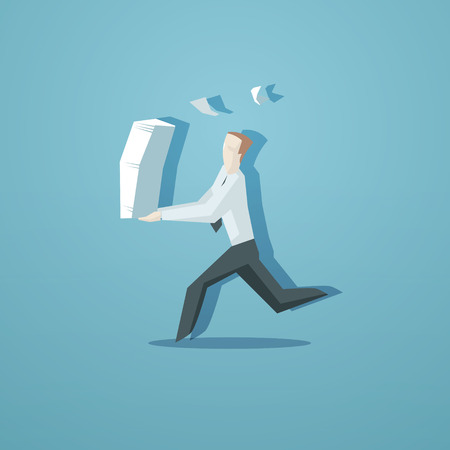 Business concept - clerk running with documents.