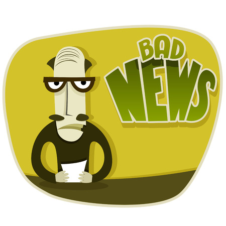 sullen: Vector illustration of bad news programm on TV