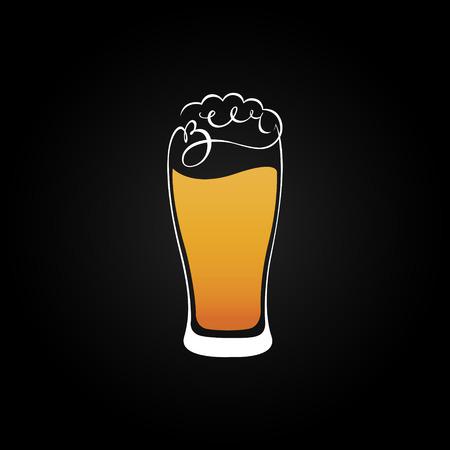 alcohol logo: Beer glass emblem design vector.