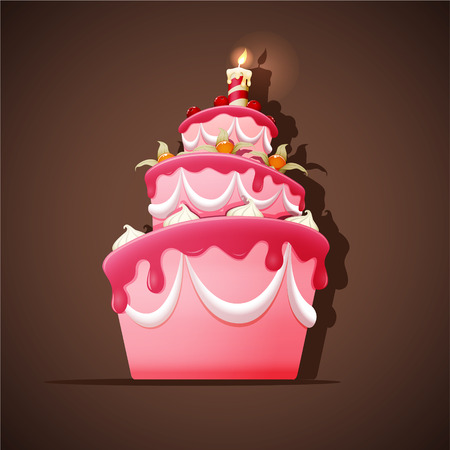 pastel cumpleaños: Torta de cumpleaños con merengues, cereza, cereza de tierra y vela. Vectores