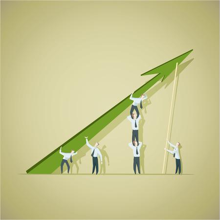 ビジネスの男性達成グラフを改善ましょう。  イラスト・ベクター素材