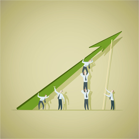 Business man trying to improve achievement graph.