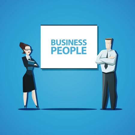 personas de pie: Vector gente de negocios concepto. Hombre de negocios y empresaria de pie delante del rotafolio