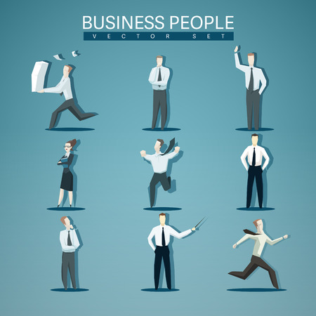 Vector set of business people isolated