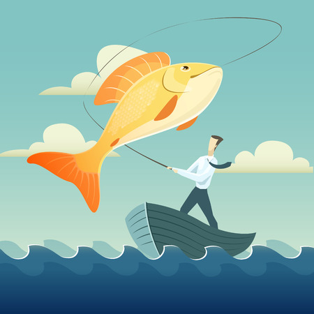 Vector illustration of Businessman fishing goldfish.