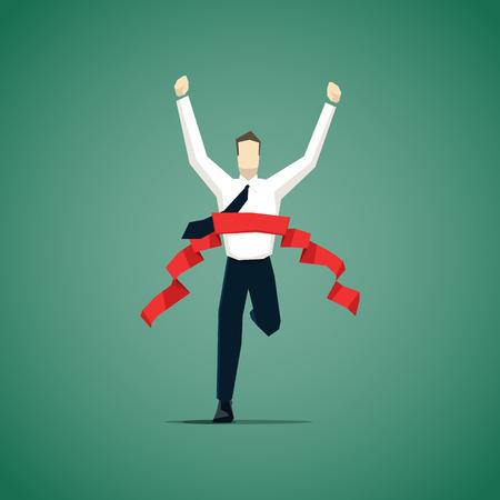 Businessman Kreuzung Ziellinie, wird er einen Wettbewerb gewonnen. Illustration
