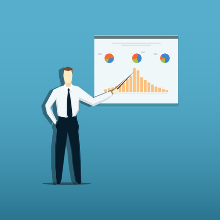 discuss: Vector illustration of businessman giving presentation. EPS 10 file