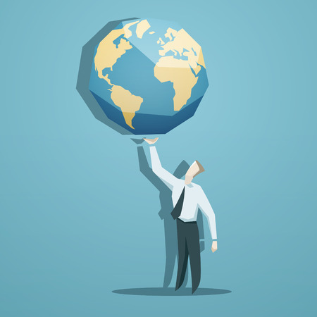 monopolio: El hombre de negocios que sostiene el mundo en sus manos.