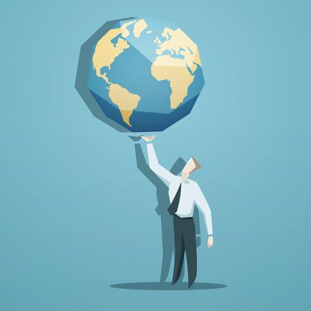 Geschäftsmann hält die Welt in Händen. Standard-Bild - 40749578