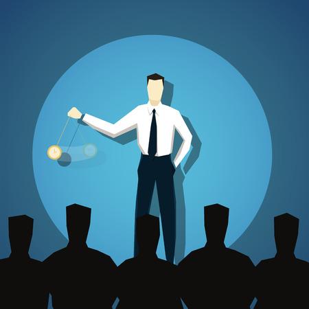 Businessman hypnotizes people.