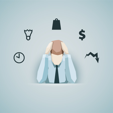 burden: Business concept - Businessman in stress vector.  Illustration