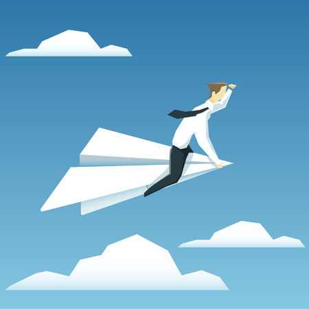 Businessman is  flying on paper airplane and  looking forward.  Ilustração
